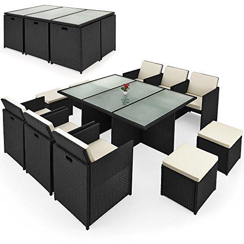 Deuba Poly Rattan Sitzgruppe 10+1 | Cube Design | 7cm dicke Auflagen in creme | klappbare...