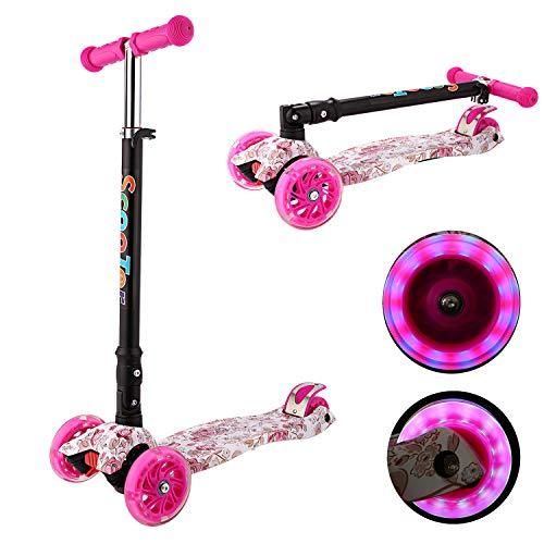 Kinder Roller Scooter 3 Räder Höhenverstellbarer Kinderroller mit LED Leuchträdern Rollen und Verstellbare Lenker für Kleinkinder, Mädchen oder Jungen ab 3 Jahren (Farbe 9)