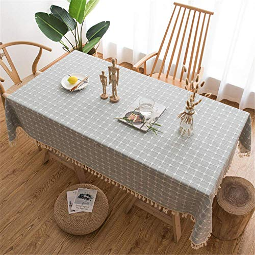 SONGHJ Plaid Mantel Lino Decorativo Borla Impermeable