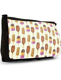 Preisvergleich für Süße Leckereien Große Messenger- / Laptop- / Schultasche Schultertasche aus schwarzem Canvas