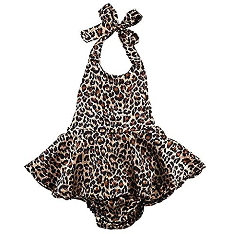 Cutelove Baby Girls Halter Leopard Printed Ruffles Romper Dress Summer Clothing