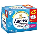 Andrex Classic Clean Flushable Washlets with Micellar Water, 3 Packs