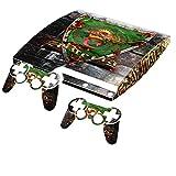Blason Algérie, Autocollant Skin Peau Vinyl avec Motifs Colorés et Effet de Cuir pour PlayStation 3 Slim