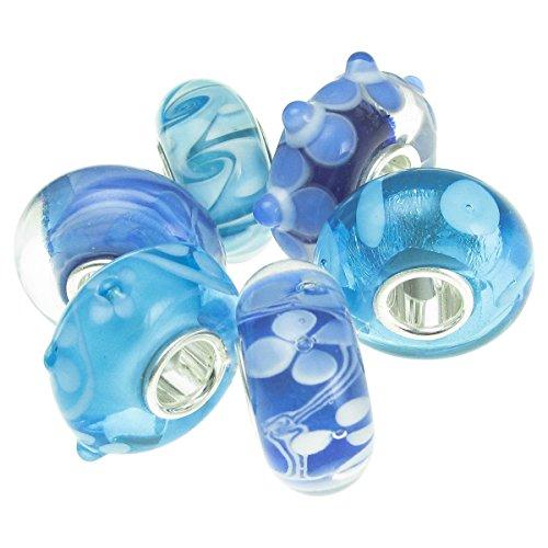 Blau Weiß sortiert 6Stück 925Sterling Silber Blume Blossom Bundle rund Glas Perle für europäische Charm Armband