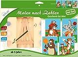 Mammut 114002 - Malen nach Zahlen Mini-Geschenkset mit Staffelei, Hund, Elefant, Bär, Tiger, je ca. 11 x 18 cm