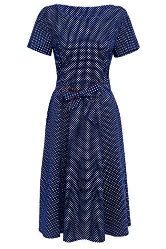 Yming Frauen der 1950er Jahre mit Flügelärmeln Schwingen Vintage Partei Kleider Bunt (Cap Boatneck)