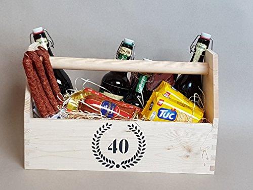 40 Jubiläum Geburtstag Hochzeitstag - Präsentkorb / Geschenkkorb, Vollholz, mit Holzwolle gefüllt - ohne Deko / weiteren Inhalt