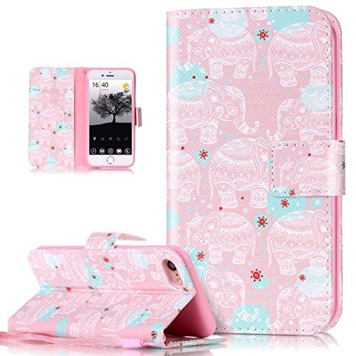 Custodia iPhone 7, iPhone 7 Cover, ikasus® iPhone 7 Custodia Cover [PU Leather] [Shock-Absorption] Protettiva Portafoglio Cover Custodia Quadri colorati disegno colorato con Super Sottile TPU Interno Elefante rosa