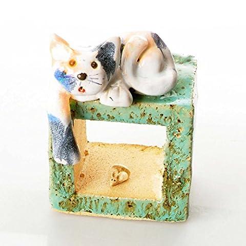 Bleu sarcelle Cube   Chat tigré   Table debout en céramique Ornement   insolite faite à la main Sculpture