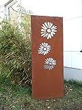 Garten Sichtschutz aus Metall Rost Gartenzaun Gartendeko edelrost Sichtschutzwand 031345-3 125*50*2cm