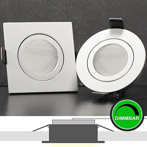 1er Set 230V LED Decken Einbaustrahler BIANCO (eckig / quadratisch) WEIß WEISS MATT; Modul 5W = 50W; DIMMBAR; Kalt-Weiß (6000-6500k); nur 35 mm Einbautiefe; schwenkbar; Leuchtmittel austauschbar