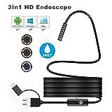 IP67 Wasserdicht 67° Endoskop, LANDFOX 3 in1 Android USB Typ-C Endoskop Inspektion 5.5/7/8 mm Kamera 6 LED HD Wasserdicht (Länge:1.5M, Durchmesser: 5.5mm)