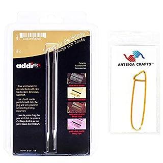 addi Click Basic White-Bronze Finish 13cm Interchangeable Tip Pair Size 3.75mm Bundle with 1 Artsiga Crafts Aluminum Stitch Holder