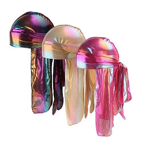 ACTLATI Silky Duragtuch für Herren und Damen, weich, Du-Rag mit langem Schwanz und Breiten Trägern für 360 Wellen - - Einheitsgröße - Rag Biker Skull Cap