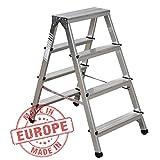 NAWA Aluminium Trittleiter Leiter beidseitig begehbar, 2x4 Stufen, 150kg Made in Europe