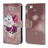 Head Case Designs Offizielle Ash Evans Lady Grey The Katzen Auf Tassen Brieftasche Handyhülle aus Leder für iPhone 5 iPhone 5s iPhone SE