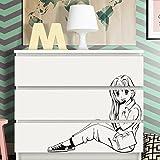 Grandora W5247 Wandtattoo Manga Mädchen passend für IKEA HEMNES und MALM Kommode schwarz