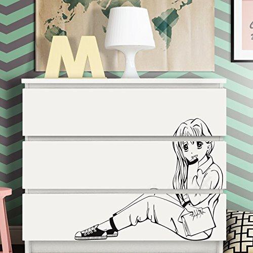Grandora W5247 Pegatina Pared Manga Niña para IKEA HEMNES y MALM cómoda - Lila, 63 x 52 cm
