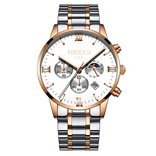 Herren Armbanduhr Edelstahl Casual Quarz Analog Datum Uhr Mondphase Chronograph Leuchtende Uhr