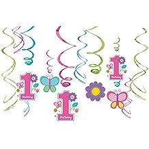 Amscan Sweet Birthday - Decorazioni a stelle filanti da appendere al soffitto, per compleanno bambina