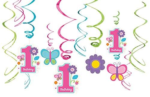 Sweet Birthday Girl - Spiralen-Hängedeko, 12er Pack, Stränge mit Motiven - Raumdekoration zum 1. Geburtstag