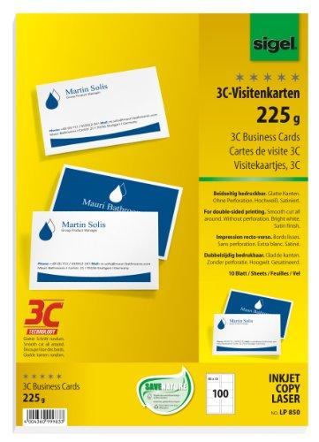 Sigel LP850 Visitenkarten 3C 100 Stuck 10 Blatt Beidseitig Bedruckbar Hochweiss