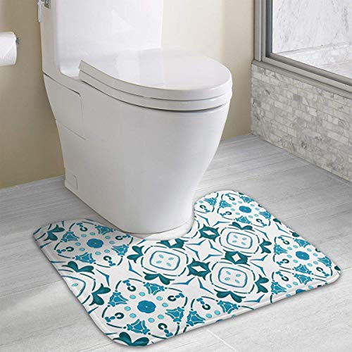 Uosliks Decorative Petals and Octagon Forms Water Uptake Toilet Rug and Customized Artwork Print Bathroom Carpet Rug Bath Mat 15.8 X 19.3in -