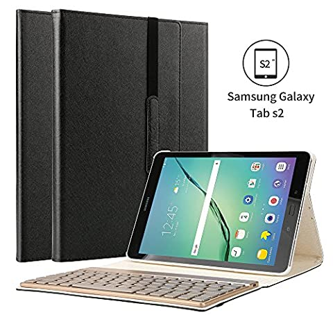 Samsung Galaxy Tab s2 9.7 Case, KVAGO 7 Colors Backlight Detachable Backlit Keyboard Case Slim Thin Stylish Luxury 3-Folding PU Leather Protective Cover Wireless Bluetooth Keyboard Cover for Samsung Galaxy Tab S2 9.7 inch Tablet SM-T815 T810 Black