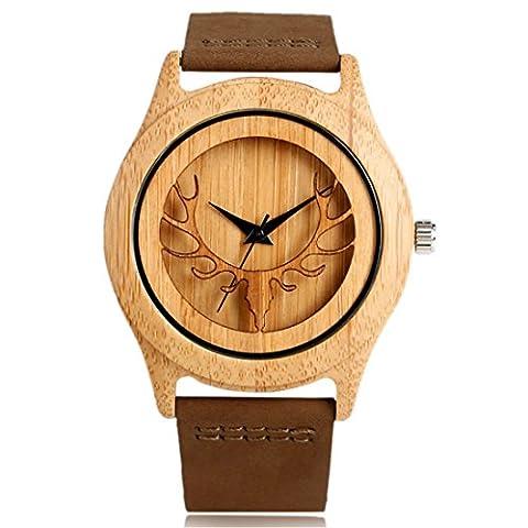 Yisuya Bracelet Deer Moose Elk Head Pattern Cadran pour homme en bambou–Nature en bois montre avec bracelet en cuir véritable Mouvement à quartz japonais