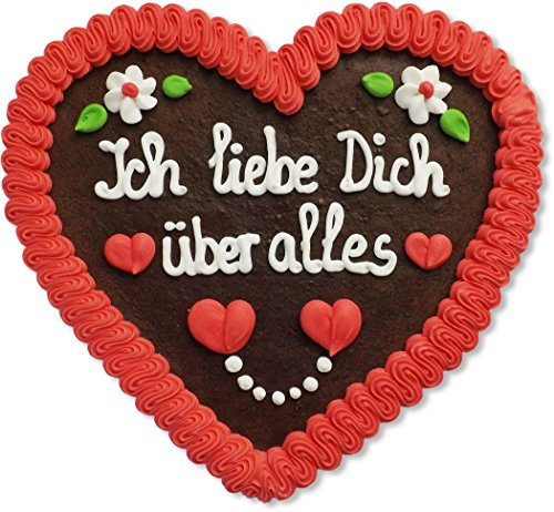 Lebkuchenherz - 23cm - Ich liebe Dich über alles- das perfekte Geschenk für Freund und Freundin zum Beweis der Liebe