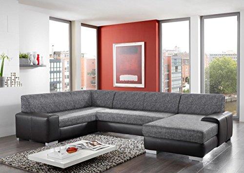 Wohnlandschaft, Ecksofa, Sofa, Couch, Polsterecke, Eckcouch, Couchgarnitur, Polstergarnitur, Eckgarnitur, Schlaffunktion, schwarz, Kunstleder, grau
