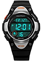 Kids Boys Childrens Girls Watches Digital Sports Alarm 50M Waterproof Timer Stopwatch Teenage Boy Junior Watches Multifunction Calendar Date Chronograph Wrist Watch with Rubber Strap (Black)