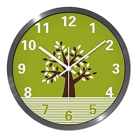 Yxhflo Metal Horloge Murale Horloge Créative , Décoration D'Intérieur Et De L'Argent Fort ,35*35Cm