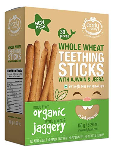 Early Foods Organic Whole Wheat Ajwain Jaggery Teething Sticks - Kids Snack 150gms