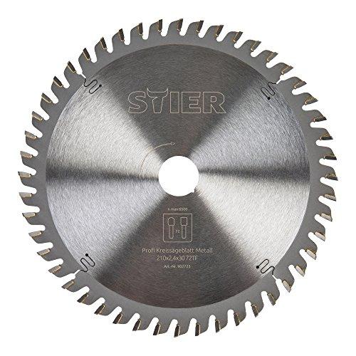 STIER Kreissägeblatt Profi, Metall, 210 x 2,4 x 30 mm, 72 Zähne, für verschiedene Materialien z.B. Alu-/Stahlbleche