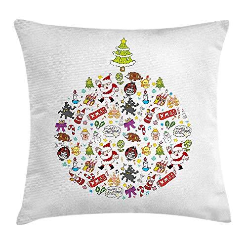 Funda de cojín de Navidad para niños, Merry Xmas Wish y Circle...