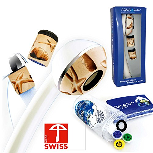 Duschkopf-Set PLAYA mit: Handbrause, 3 Reglern, Softspray-Aufsatz, 2 Strahlreglern für Wasserhähne: mehr Druck, z.B. für Durchlauferhitzer, verkalkungsfrei/verkalkungsarm, Energie- +wassersparend, Made in Switzerland, 2-5 Jahre Garantie