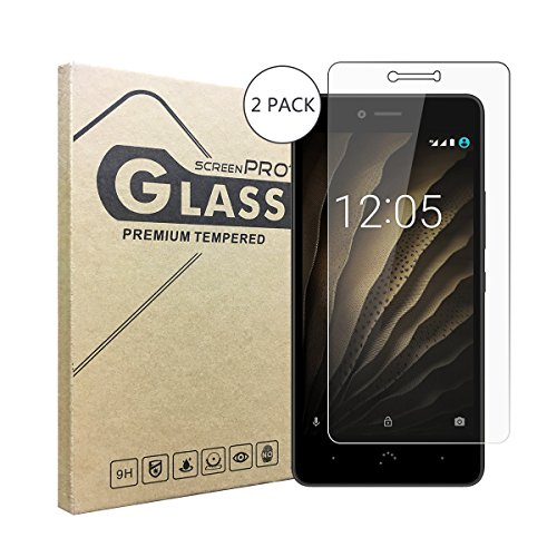 2 Stück Panzerglasfolie Tempered Glass Hartglas Schutzfolie für BQ Aquaris U,0.3mm clear 2.5D 9H Hardness aus gehärtetem Glas Ultra Clear Panzerglas Transparent Folie für BQ Aquaris U