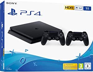 Sony PS4 Console Slim 1TB + 2 Controllers Dual Shock 4 Colore Nero Nuovo chassis F
