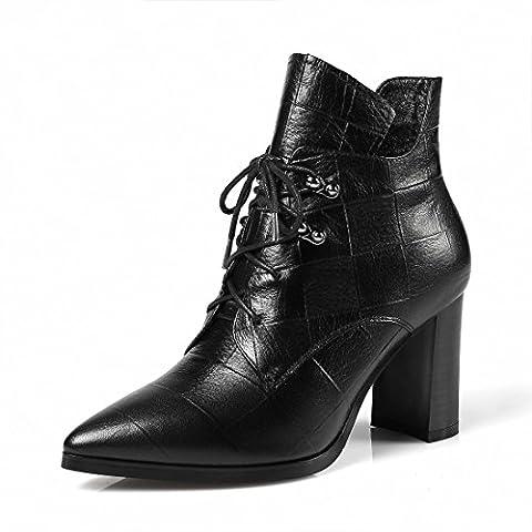 Femmes Mode Talons hauts Le nouveau Pointu Pompes Bottes Chaussures en cuir Chaussures de loisirs EUR TAILLE 34-39 , Black , 34