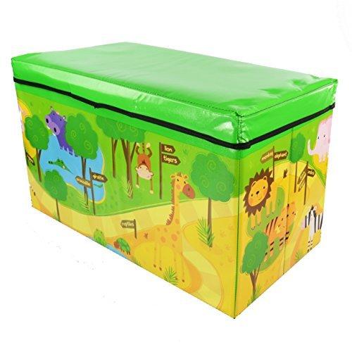 Zizzi - Niños infantil almacenaje grande juguete caja chicos chicas libros pecho ropa asiento taburete shopmonk (zoológico)