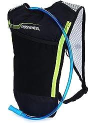 ROSWHEEL ultraligero multifuncional bicicleta bolsa 5L bicicleta mochila de hidratación, 2L agua vejiga