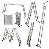 14 in 1 Klappleiter Dachbodenleiter Gerüstplattformleiter Mehrzweckleiter Aluleiter Belastbar bis 150 kg EN 131 Standard