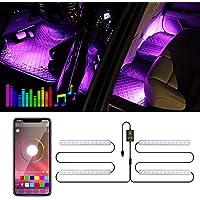 Trongle Luz Interior Coche con APP, Tira LED Iluminación Impermeable 48 LED Multi DIY Color Música, Auto Interior Atmósfera Led Iluminación, Cargador del USB 5V