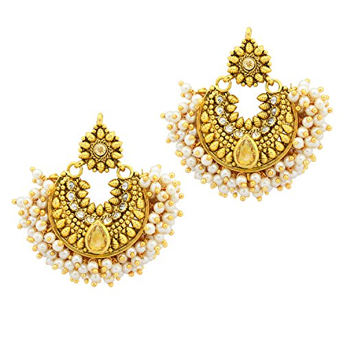 Ramleela Bollywood Designer Gold Plated Premium Earring - Citrine Colour  available at amazon for Rs.349