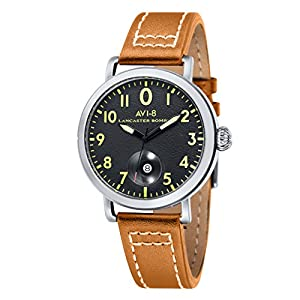 Avi-8 Men's Lancaster Bomber Quartz Watch with Black Dial Analogue Display and Brown Leather Strap AV-4020-02