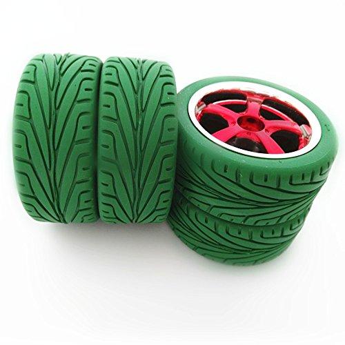 Preisvergleich Produktbild Gazechimp 4 x Reifen Rennreifen Flache Radfelge Gummi Rad Felge für Hsp Hpi 01.10 Grün