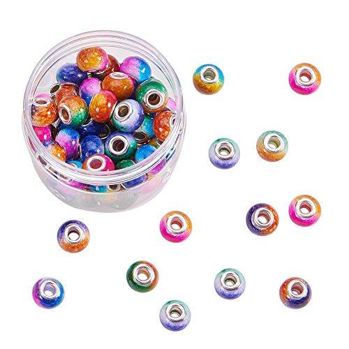 pcs 14mm Sortiert Farbe Europäischen Glas Perlen großes Loch Charms mit Silber Ton Messing Kerne für Schlange Style Charm Armband ()