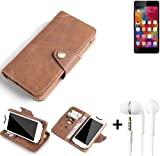 K-S-Trade® Schutzhülle für Gionee Elife S7 Hülle Tasche Handyhülle Handytasche Wallet Flipcase Cover Handy Tasche Kunsteleder Braun Inkl. in Ear Headphones