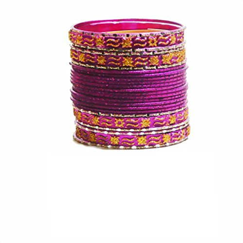 Indische Bangles 24 Armreifen Mahive pink gold 7cm mit Bindis Bollywood Sari Schmuck